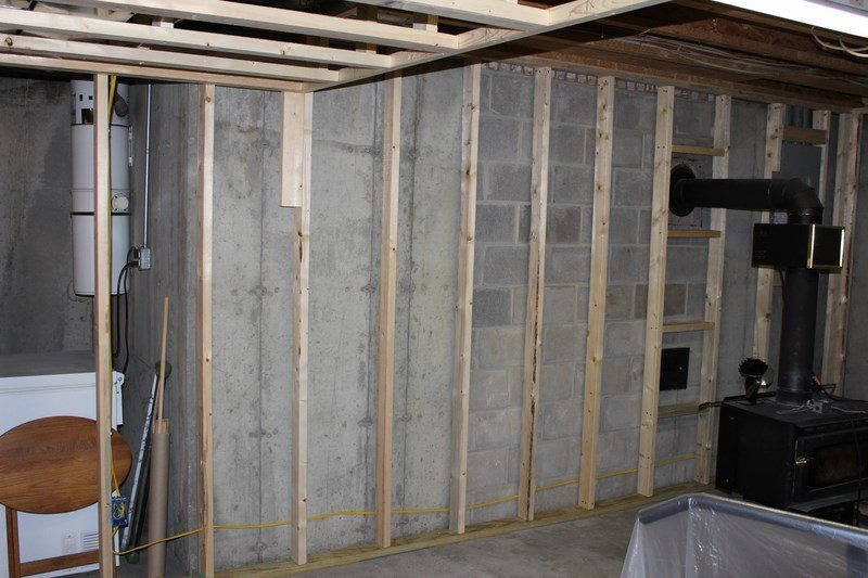 This Basement Wall Is Furred With 2x4u0027s Offset From Wall To Reduce Thermal  Breaks, Also