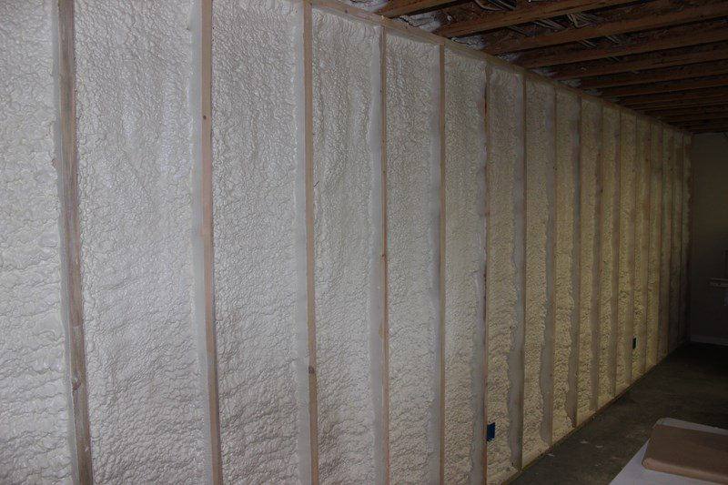 Insulate a basement wall with closed cell spray foam st for Concrete foam walls