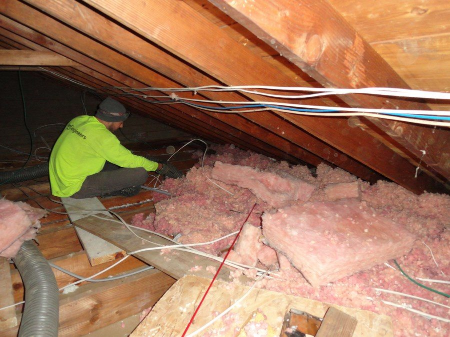 Removing attic insulation