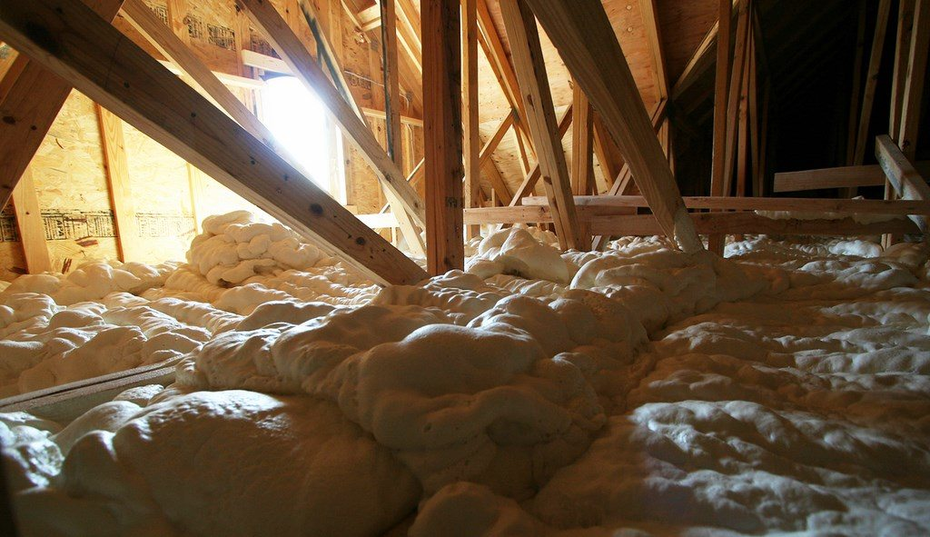 Spray Foam Insulation On Attic Drywall By Foam Engineers